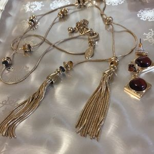 Chico's tassel necklace and bracelet w/amber beads